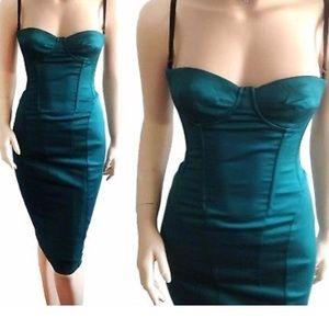 Dolce & Gabbana D&G teal corset zip dress sz. 46